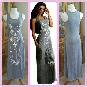 XXL ❤🐱 Grey Cat Maxi Tank Dress